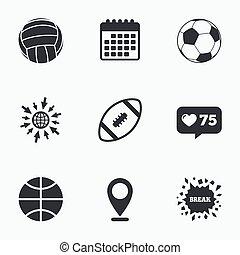 Sport balls. Volleyball, Basketball, Soccer. - Calendar,...