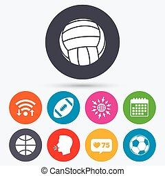 Sport balls. Volleyball, Basketball, Soccer. - Wifi, like...
