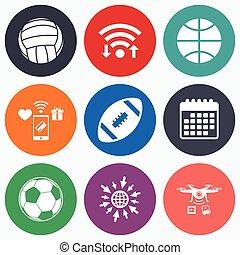 Sport balls. Volleyball, Basketball, Soccer. - Wifi, mobile...