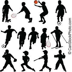 sport, bambini, silhouette