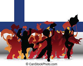 sport, bandiera, finlandia, ventilatore, folla