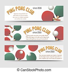 Horizontal ping pong banners - Sport banners set vector...