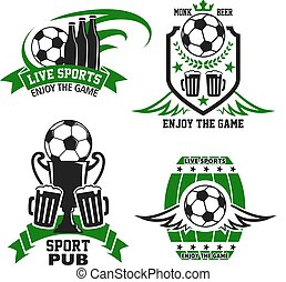 Sport bar or pub icon with beer and soccer ball