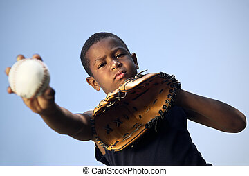 sport, baseball, og, børn, portræt, i, barn, kaste, bold