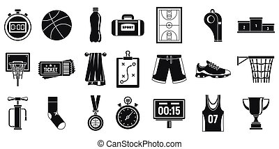 Sport basketball equipment icons set, simple style