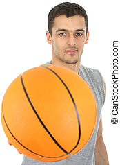 Basketball player holding ball