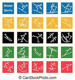 sport, bastone, inverno, figure