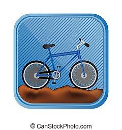sport bicikli, alatt, köves hegy