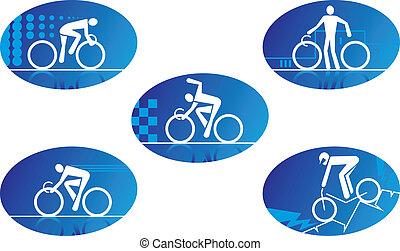 sport, bicikli, ikonok
