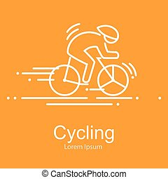 Sport bike and rider icon thin line vector illustation