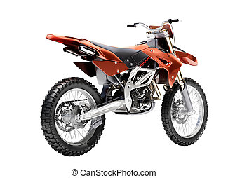 Sport bike enduro or trial close up on a light background...