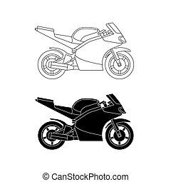 Sport bike line illustration.