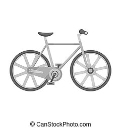 Sport bike racing on the track. Speed bike with reinforced wheels.Different Bicycle single icon in monochrome style bitmap symbol stock illustration.