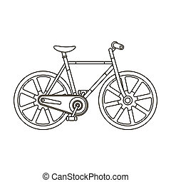 Sport bike racing on the track. Speed bike with reinforced wheels.Different Bicycle single icon in outline style bitmap symbol stock illustration.