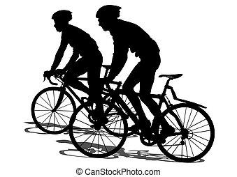 Sport bike - Silhouettes of people on a sport bike on a...