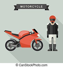Sport bike with biker.