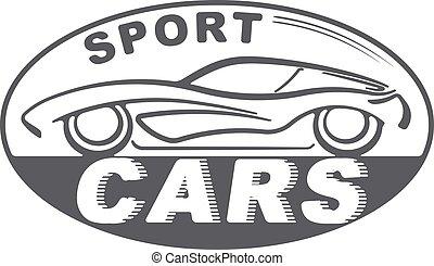 sport, bilar, grå, oval, design, för, din, logo, eller, annat, ansökan, med, silhuett, av, bil