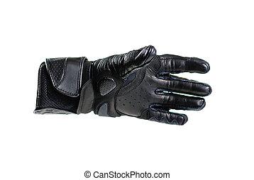 Sport black Moto gloves. Isolated on white background.
