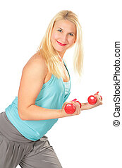 Sport blond  with dumbbells