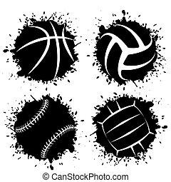 sport, blots, grunge, klumpa ihop sig, bläck