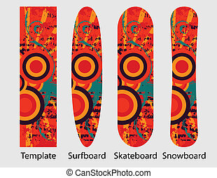 Sport boards pack 1 - Abstract vector template for snowboard...