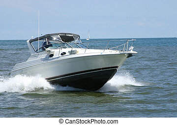 Sport boat - A sport boat coming in from the open waters