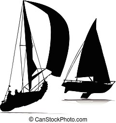 sport boat vector silhouettes