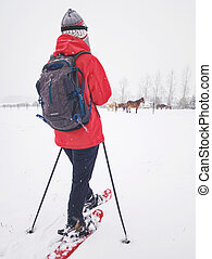 Sport body woman is hiking at horse farm with snowshoes