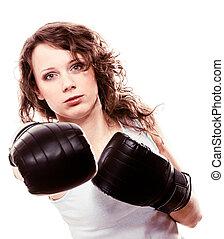 sport, bokszoló, nő, alatt, fekete, gloves., állóképesség, leány, képzés, megrúg, boxing.