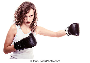 sport, bokszoló, nő, alatt, fekete, gloves., állóképesség, leány, képzés, rúgás ökölvívás