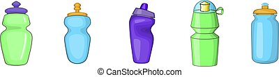 Sport bottle icon set, cartoon style