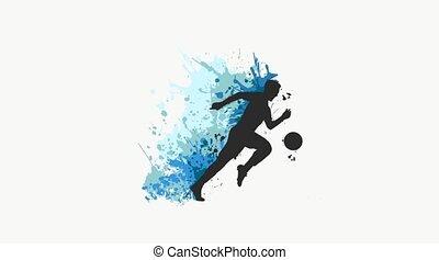 sport boule, joueur vidéo, donner coup pied, football