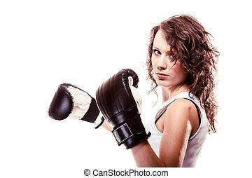 Sport boxer woman in black gloves. Fitness girl training kick boxing.