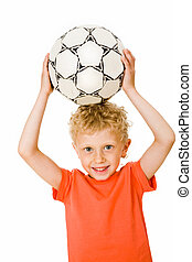 Sport boy   - Image of sport boy holding ball over head