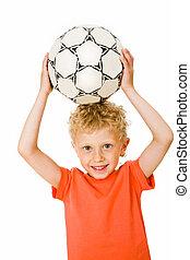 Sport boy   - Image of sport boy holding ball over head