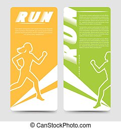 Sport brochure template with running woman