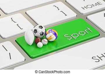 sport button, key on keyboard. 3D rendering