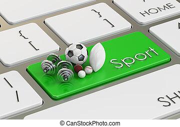 sport button, key on the keyboard. 3D rendering