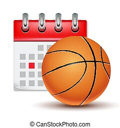Sport calendar and basketball realistic. Month date schedule...