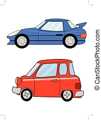 sport car and micro car in cartoon style