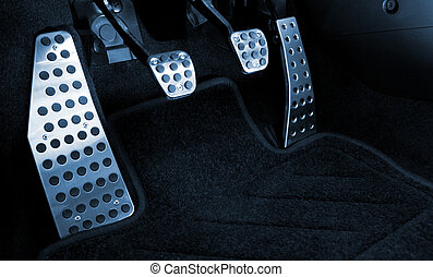 Sport car chrome pedals (toned in blue)