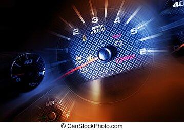 Sport Car Dash Dials. RPM, Oil Meter, Speedometer and...