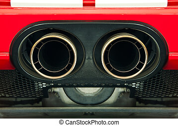 Sport car exhaust pipe.