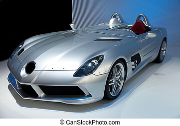 Futuristic sport car cabriolet without trademarks