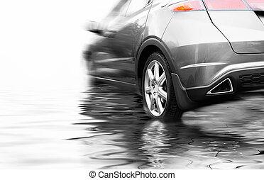 Sport car in rendered water