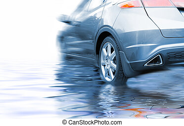 Sport car in rendered water