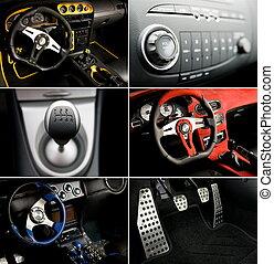 Sport car interior collage