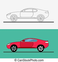 Sport car logo on white background. Drag racing. Car line art . Flat vector illustration