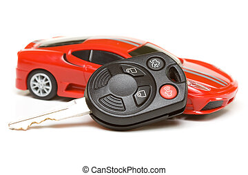 Sport car model with key - Micro picture of sport car model...