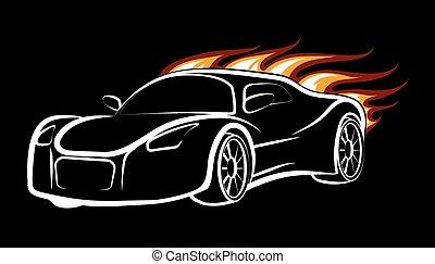 Sport Car - Modern sport car emblem. Burning car isolated on...
